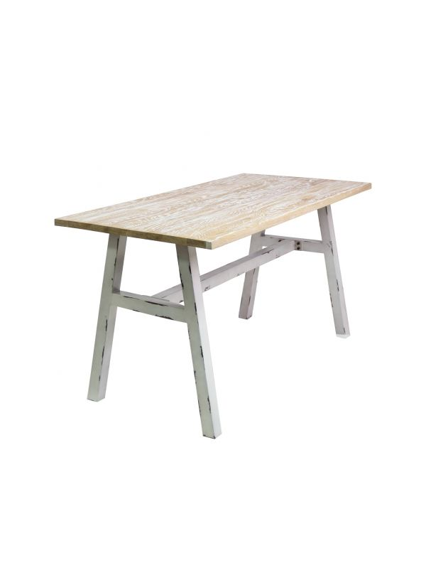 Rustic Steel Dining Table With Ash Wood Top