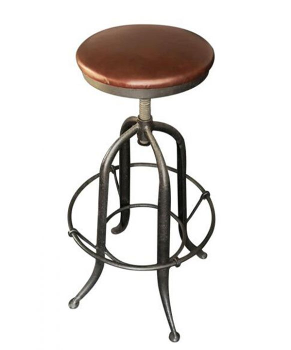 Miraculous Industrial Bar Stool With Top Grain Leather Seat Ibusinesslaw Wood Chair Design Ideas Ibusinesslaworg